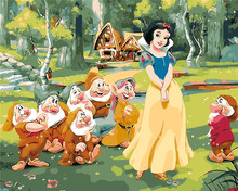Snow white and seven dwarves Painting picture By Numbers Digital Picture Coloring for kids children room decor Home Decoration(China)