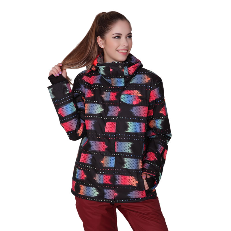 Gsou snow womens ski jacket black with red pattern skiing jacket lady cotton-padded snowboard jacket skiwear winter sports tops<br><br>Aliexpress