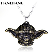 Hot Marketing Movie Jewelry Star Wars Yoda Pendant Necklace Men Fashion Vintage necklace long chain necklace