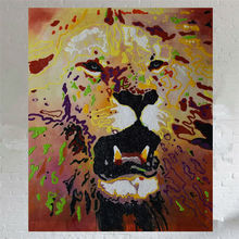 African Lion Paintings Hand Painted Canvas Oil Painting Abstract Graffiti Animals Modern Wall Art Picture Home Decoration