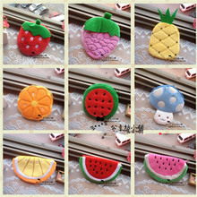 Retail girls fruit coin purses kids Plush Watermelon Strawberry ladies small wallet bag key case women handbag Card Holders(China)
