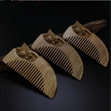 Hair care Natural handmade Green Sandalwood lotus flower Boutique Comb hairdressing professional health care Green sandalwood