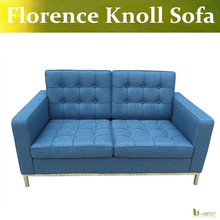 U-BEST florence knoll style love seat blue sofa,Reproduction of fabric two Seat Sofa,linen Cashmere Sofas & Couches(China)