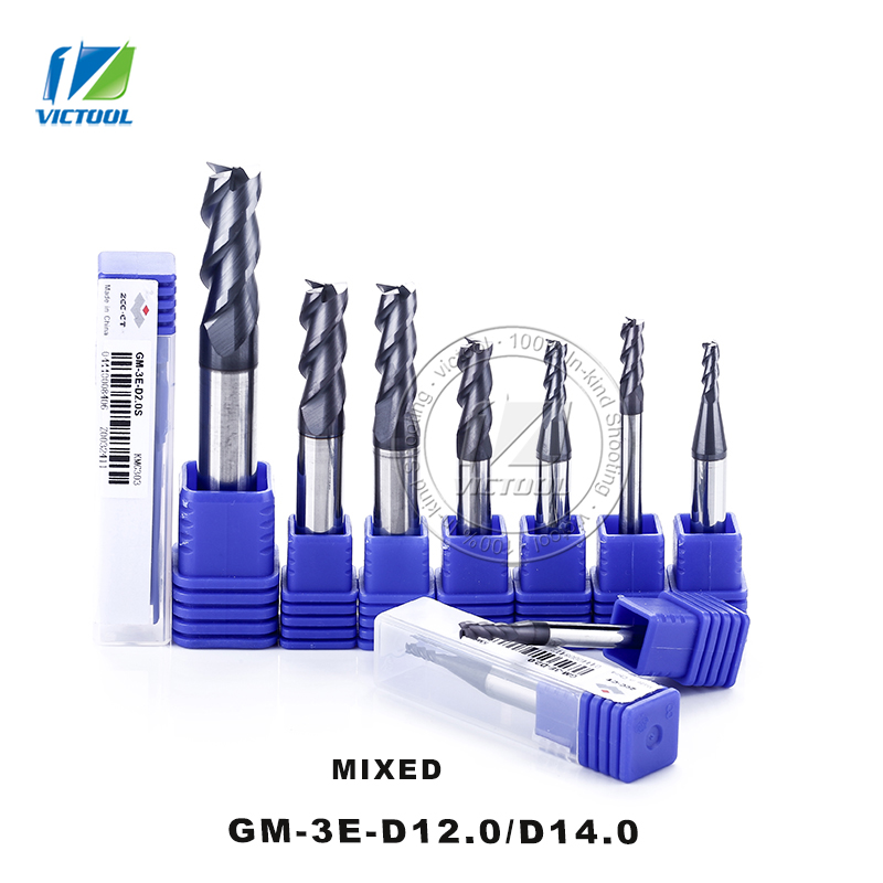 High Precision Machining GM-3E/D12.0/D14.0 Cemented Carbide 3-Flute Flattened End Mill With Straight Shank Cutter Tools<br>