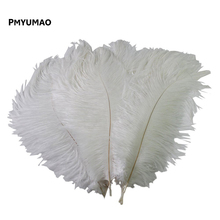 Brand Feather# 10pcs Natural White Ostrich Feather 20-25cm Wedding DIY Free Shipping(China)