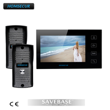 "HOMSECUR 7"" LCD Video Door Phone Intercom+ 2 X 700TVL Rain-proof Vandal-proof CMOS Camera"