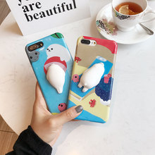 Lovely 3D silicon Cartoon Cute Soft Seal Sea Lion phone Cases For iphone 6 6s 6plus 7 7Plus cartoon Soft TPU phone back cover