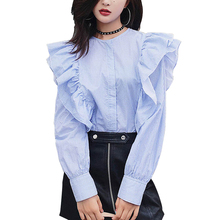 Mara alee women shirts ruffle blouses 2017 ladies tops femme blue top womens clothing striped blouse WD007
