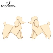 Todorova Wholesale Origami Lovely Balloon Poodle Dog Animal Stud Earrings Cute Vintage Earrings Brand Jewelry for Women Gift