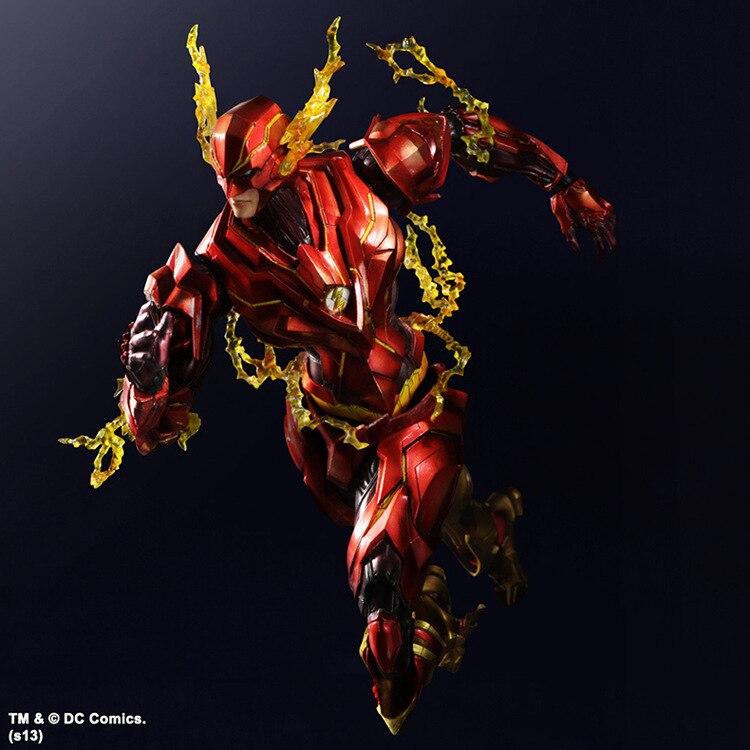Play Arts Kai Flash Action Figures The Flash Armor Ver NO 4 PVC Toys 270mm Movie Model Heavily-armored Barry Allen Playarts Kai<br>