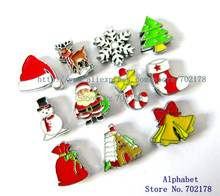 mix style Christmas series wholesales 10pcs Slide Charms Can through 8mm band 8mm Pet Dog Cat Tag Collar band