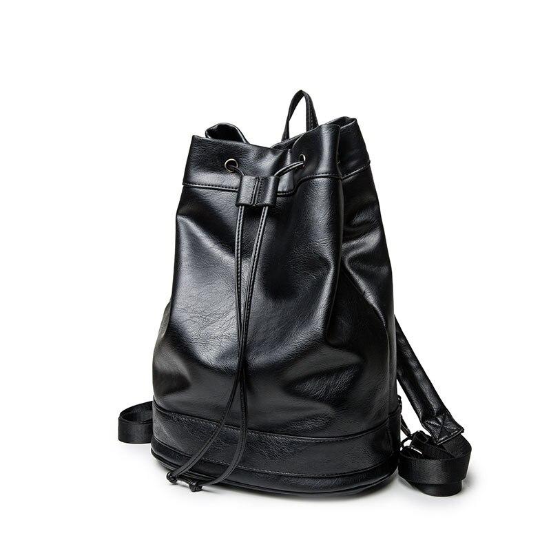 Small daypack Black Travel Laptop Backpack mochila Mens Leather Backpack Schoolbag Leather Backpack for men drawstring bag<br>
