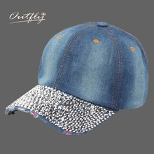 jean Hat Lady Point drill pearl cowboy hat women Denim snapback baseball cap Outdoor Sport Rhinestone  Female Casual Cap b163
