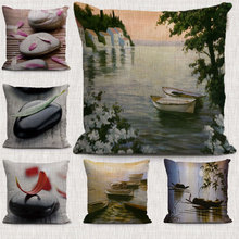 china style West Lake Beauty Art stone pattern decorations pillow case beautiful Scenery linen cushion cover for sofa home decor(China)