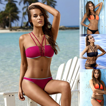 Multi Rope Strap Bandage Triangle Swimwear Female 2017 Halter Bikini Set Tube Bathing Suit Sexy Brazilian Solid Women Swimsuit