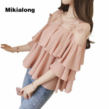 Mikialong Floral Beading Ruffle Blouse Women Tops Off Shoulder Mesh Patchwork Chiffon Shirt Women Black White Loose Blusas Mujer