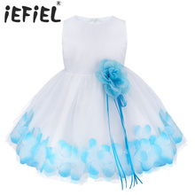 2017 Newborn Infant Baby Toddler Girls Flower Petals Tulle Wedding Ball Gown Formal Pageant Easter Party Dress SZ 3-24 Months