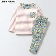 Little maven children's clothing sets 2017 autumn Girls Cotton brand long sleeve striped pocket t shirt + floral pants 20145(China)