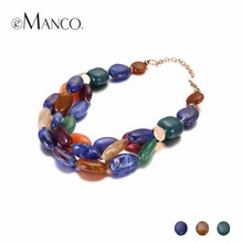 eManco Trendy Multi Color Layers Choker Necklaces for Women Blue Resin & Ceramics Accessories Necklace Fashion Jewelry(China)
