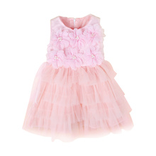 2017 Brand Girls Dresses Pink Pincess Party Wedding Costumes Sleeveless Pearl Flower Rosette Lace Girl Dress Children Clothing(China)