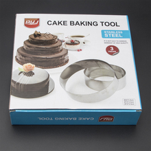 Hot Hot Sale Round Stainless Steel Circle Mousse Ring Baking cakeTool 3Pcs/Set 3 Layer Cake Mould Bakeware Mold A113