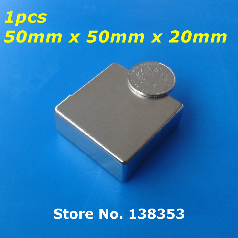 1pcs Bulk Super Strong Neodymium Square Block Magnets 50mm x 50mm x 20mm N35 Rare Earth NdFeB Cuboid Permanent Magnet<br>