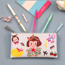 Anaysi Double Different Side Zipper Pencil Bag Makeup Storage Bag Vintage Kawaii Stationary Stationery Girl Gift School Supplies