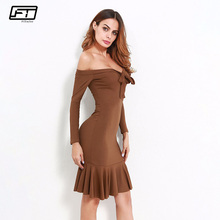 Buy Fitaylor 2018 Autumn Summer Women Strapless Sexy Dress Evening Party Casual Dresses Solid Long Sleeve Pleated Dress Vestidos for $14.71 in AliExpress store