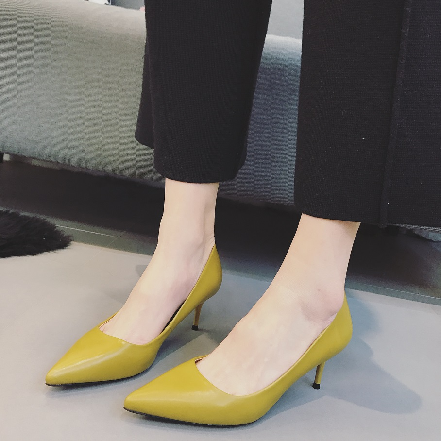 2017 Womens Pointed Toe High Heel Shoes Black Yellow 6cm Zapatillas Mujer Ladies Shoes Escarpins Femme Women Pumps<br><br>Aliexpress