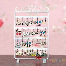 Hot 48 Holes Display Rack Metal Stand Holder Closet Jewelry Earrings Organizers Showcase Packaging & Display Wholesale(China)