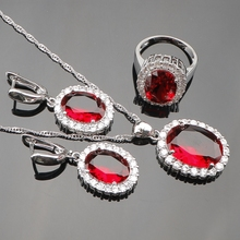 925 Sterling Silver Red Garnet Jewelry Sets For Women Silver Earrings/Ring/Pendant /Necklace Ladies Free Jewelry Box