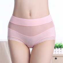 Modal summer sexy lace waist big yards women's underwear Seamless breathable solid color sexy lady briefs(China)