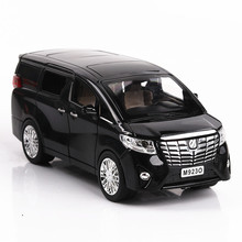 Die-Cast Alloy Children Toys Car Models Alphard MPV Business Car Bus Large Size 1:24 PULL BACK 6 Doors can open with sound light(China)