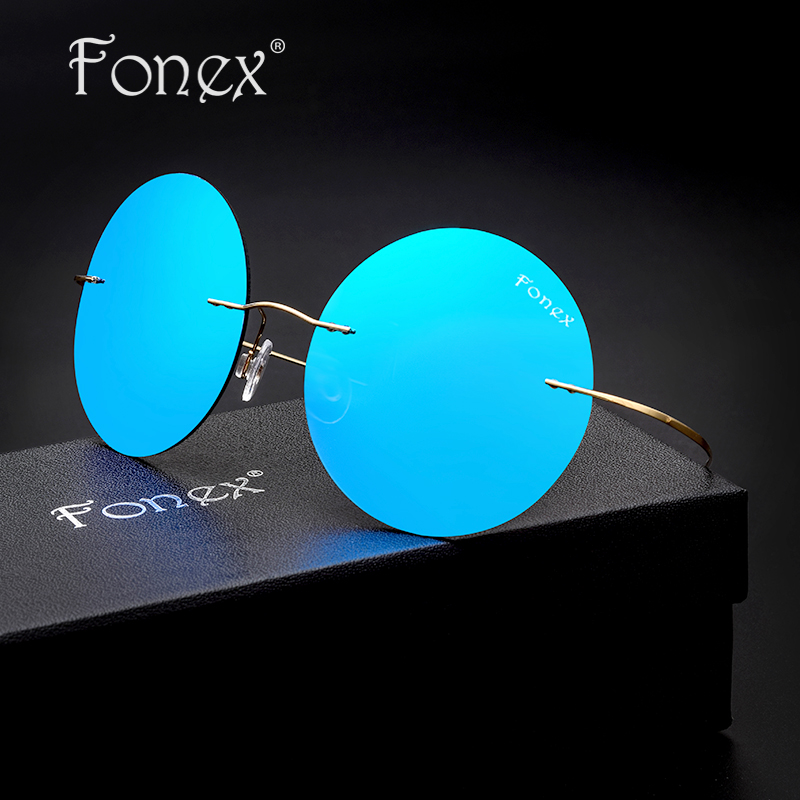 Hippie Vintage Rimless Polarized Sunglasses Titanium Men Brand Designer Blue/Green/Silver Coat Lens Round Sun Glasses Ukraine 9<br><br>Aliexpress