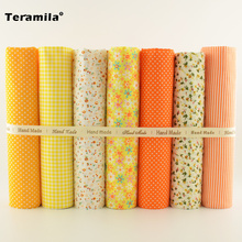 7pcs/lot Multiple Color Cotton Fabric Floral and Dots Design for Home Textile Quilting Meter Desk Decoration Tecido To Patchwork(China)