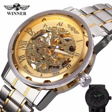 WINNER Golden Watches Men Skeleton Mechanical Watch Stainless Steel Strap Top Brand Luxury Man Wristwatch Montre Homme 17 COLORs