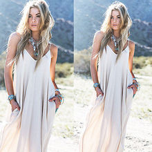 Buy Vintage Hippie Boho People Long Maxi Evening Party Chiffon Dress Beach Dresses Women Casual Solid Loose Dress Summer Clothing for $5.28 in AliExpress store