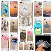 Phone Back Cases For iPhone 5 iPhone 5s SE Ultra Thin Soft TPU Silicon Printed Animals Flower Beauty Girl Back Case Cover