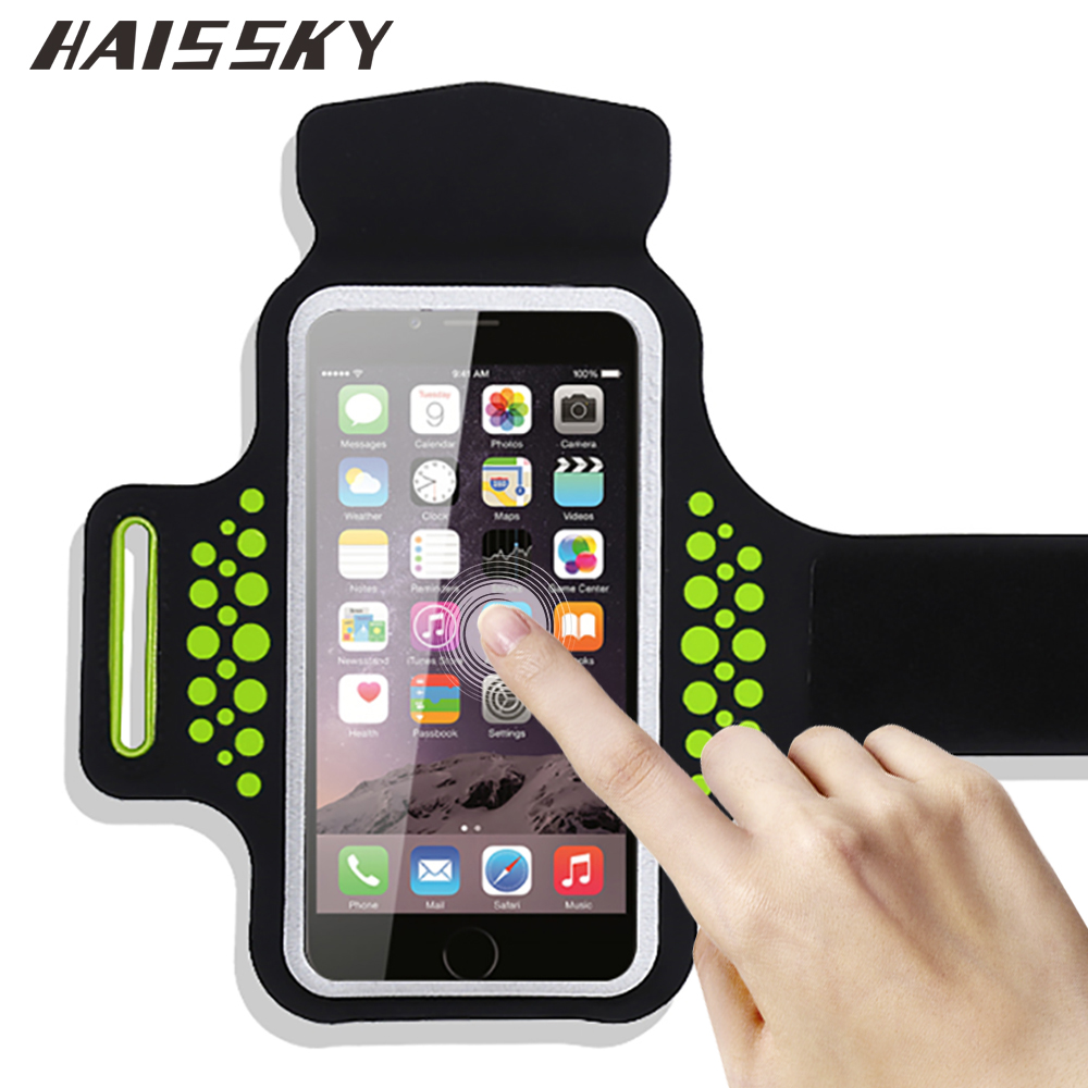 HAISSKY Sport Armband Case For iPhone 7 Plus 6 6s Plus Xiaomi mi5 mi6 Redmi 4 pro Huawei P9 Brassard Touch Screen Arm Band Cover(China (Mainland))