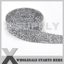 (3cm Width) Resin Rhinestone Bandings,Clear Rhinestone with Iron on Glue,Used For Bridal Dress,Cake,Wine and Wedding