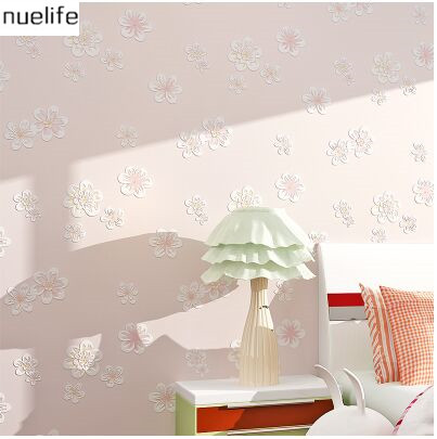 Thickened 3D garden pattern wallpaper bedroom living room marriage room girl childrens room TV wall non-woven wallpaper<br>