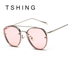 TSHING 2017 New Clear Lens Round Women Fashion Sunglasses Men Vintage Brand Designer Double Beam Sun Glasses Ladies Female UV400
