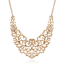 2017 New Metallic Hollow Carved Necklace Fashion Women Bib Choker Statement Vintage Pendants Maxi Necklace Collier Femme(China)