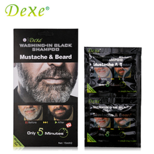 3 Set = 6 Pieces Dexe Beard Hair Color Cream 15ml Black Mustache & Beard Shampoo Hair Dye Washing-in Black Shampoo for Men