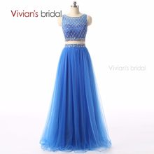 Two Piece Prom Dress Long A Line Evening Dress Vivian s Bridal Sequin  Crystal Sleeveless Evening Gown b1caef541662