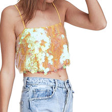 (Ship from US) 2019 Summer Spring Crop Tops Shirt Women s Ladies Sequined  Bling Shiny Tank Tops Sleeveless Shirts Blouse Vest fd7b9999389c
