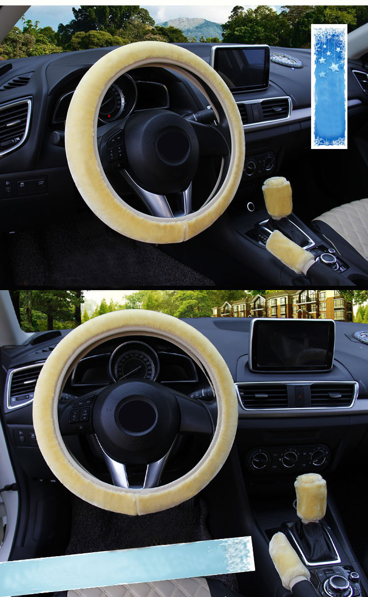 winter Steering Wheel Cover+Handbrake cover + car Automatic Covers / Warm Super thick Plush Gear Shift Collar 9