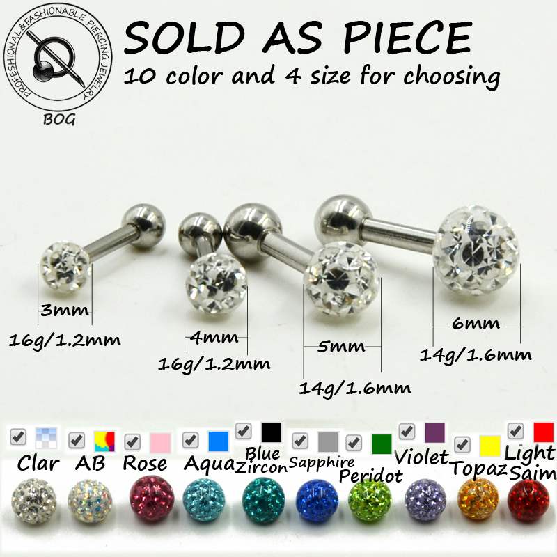 1pc Tragus Helix Bar Cartilage Top Upper Ear Earring Labret Body Jewelry Piercing With Epoxy Ferido Disco Crystal Ball 14g 16g(China (Mainland))
