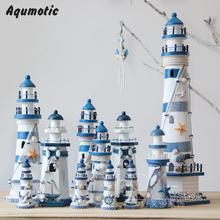 Aqumotic Wooden Lighthouse Model Kit Mediterrane Craft Send Holiday Gift model lighthouse Fishing Net Shell Decoration cardboard(China)