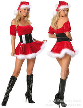 Helloween Party Suit Sexy Adult Christmas Eve Costumes Skirt Suits Miss Xmas Santa Cosplay Stage Costumes Women  B-3940